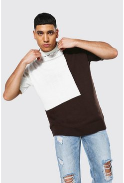 Oversized Colour Block Knitted T-shirt, Chocolate