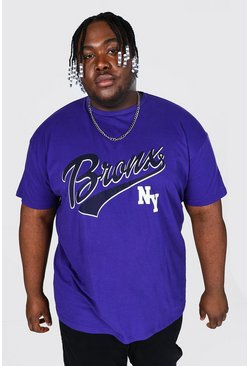 Purple Plus Size Bronx Ny Varsity Graphic T-Shirt