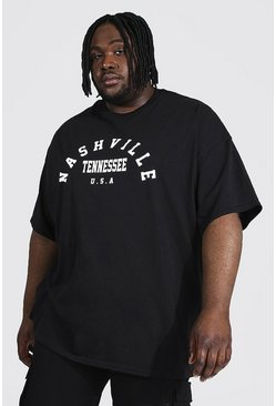 Black Plus Size Nashville Varsity Graphic T-Shirt