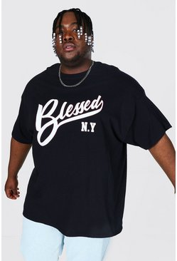 Black Plus Size Blessed Slogan Print T-shirt