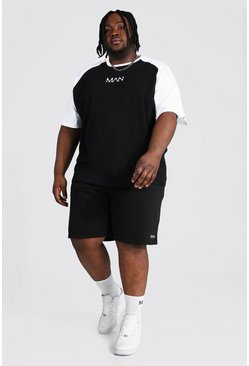 Plus Man Dash Raglan T-shirt And Short Set, Black