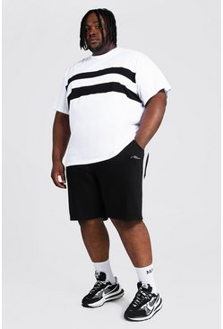 White Plus Colour Block T-shirt And Short Set