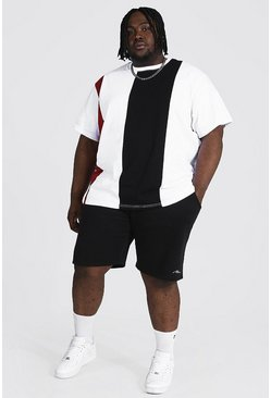 Plus Multi Colour Block Tee And Short Set, Black
