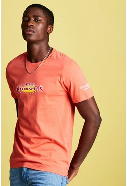 Mens Pink Swizzels Regular Fit Refresher Print T-Shirt