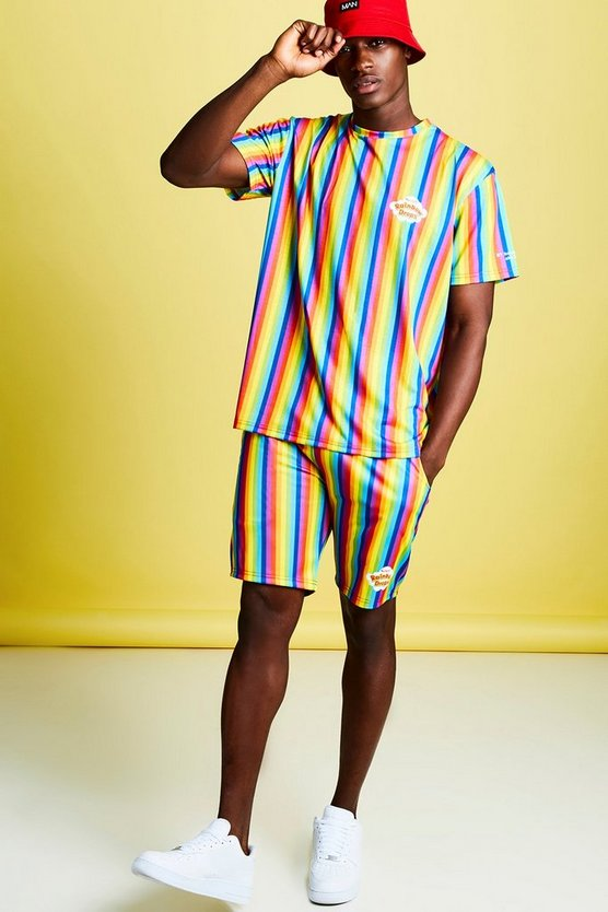 Mens Multi Swizzels Rainbow Stripe T-Shirt & Short Set
