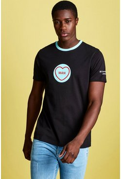 Mens Black Swizzels Regular Fit MAN Print T-Shirt