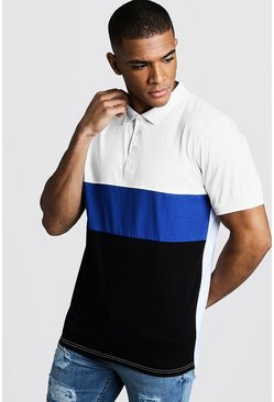 Mens Cobalt Muscle Fit Short Sleeve Colour Bock Polo