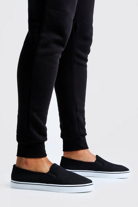 Mens Black Slip On Plimsolls
