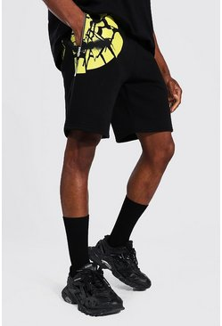 Black Regular Man Shattered Face Jersey Shorts