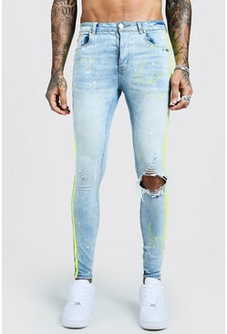 Mens Mid blue Super Skinny Jeans With Painted Side Stripe