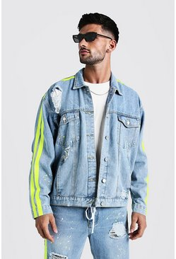 Mens Mid blue Oversized Denim Jacket With Painted Side Stripe