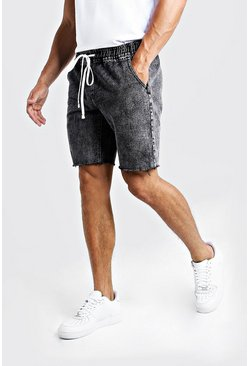 Mens Black Relaxed Fit Denim Shorts With Elasticated Waist