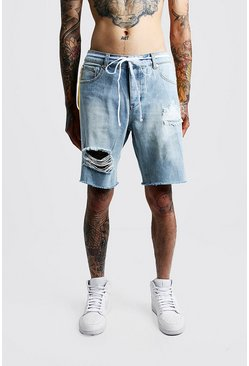 1dc74e225e Relaxed Fit Distressed Side Print Denim Shorts