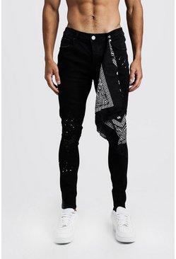 Black Super Skinny Jeans With Bandana Repair