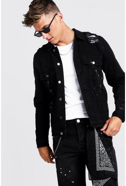 Black Denim Jacket With Bandana Repair