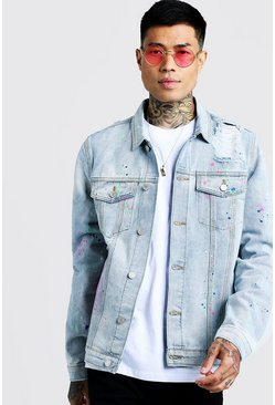 Mens Light blue Distressed Denim Jacket With Spray Paint