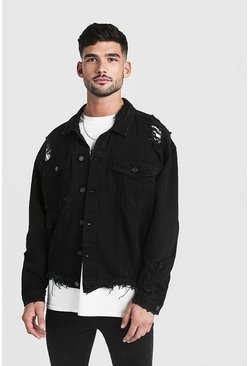 Mens Black Oversized Denim Jacket With Heavy Distressing