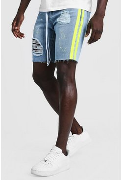 Mid blue Relaxed Fit Denim Short With Painted Side Stripe