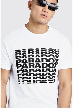 Mens White Paradox Slogan Tee