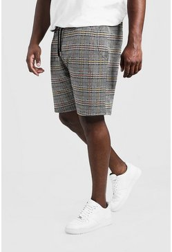 Mens Black Big & Tall Short Length Check Jacquard Short