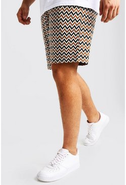 Mens Ecru Big & Tall Aztec Jacquard Mid Length Short