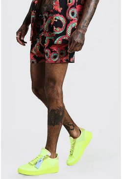 Mens Red Dragon Print Drawstring Short