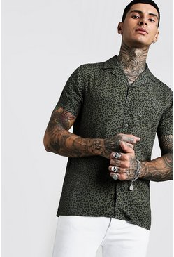 Mens Khaki Animal Print Short Sleeve Revere Viscose Shirt