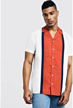 Mens Rust Colour Block Short Sleeve Revere Shirt