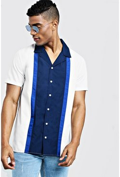 Mens Cobalt Colour Block Short Sleeve Revere Shirt