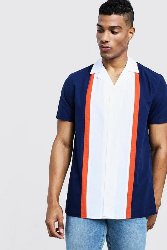 Mens Orange Colour Block Short Sleeve Revere Shirt
