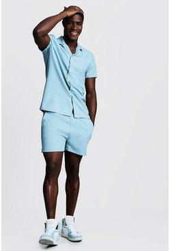 Duck egg Smart Revere Shirt & Short Set