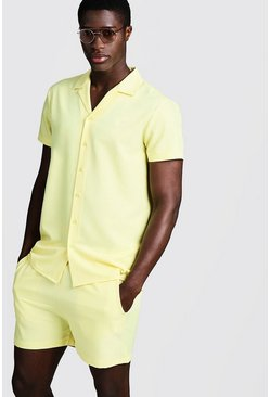 Mens Yellow Smart Revere Shirt & Short Set