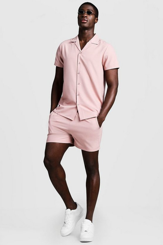 Mens Dusky pink Smart Revere Shirt & Short Set