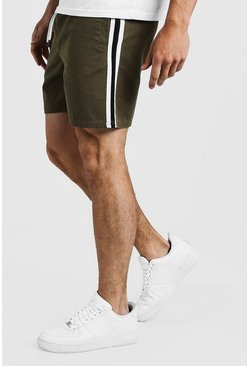 Mens Khaki Drawstring Chino Short With Side Tape