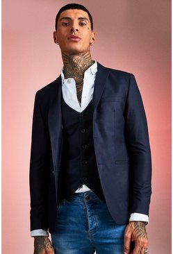 Mens Navy Plain Skinny Fit Suit Jacket
