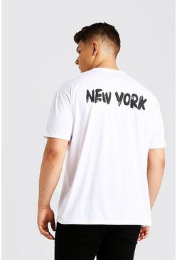Mens White Big & Tall Loose Fit T-shirt With Back Print
