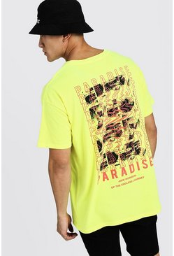 Mens Neon-yellow Oversized MAN Paradise Back Print Neon T-Shirt