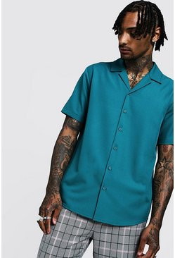 Mens Jade Smart Relaxed Fit Revere Shirt In Short Sleeve