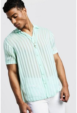 Mens Mint Semi Sheer Stripe Short Sleeve Revere Shirt