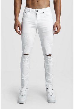 White Skinny Fit Panelled Jeans