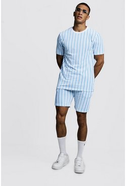 Mens Light blue Velour Stripe Short Set