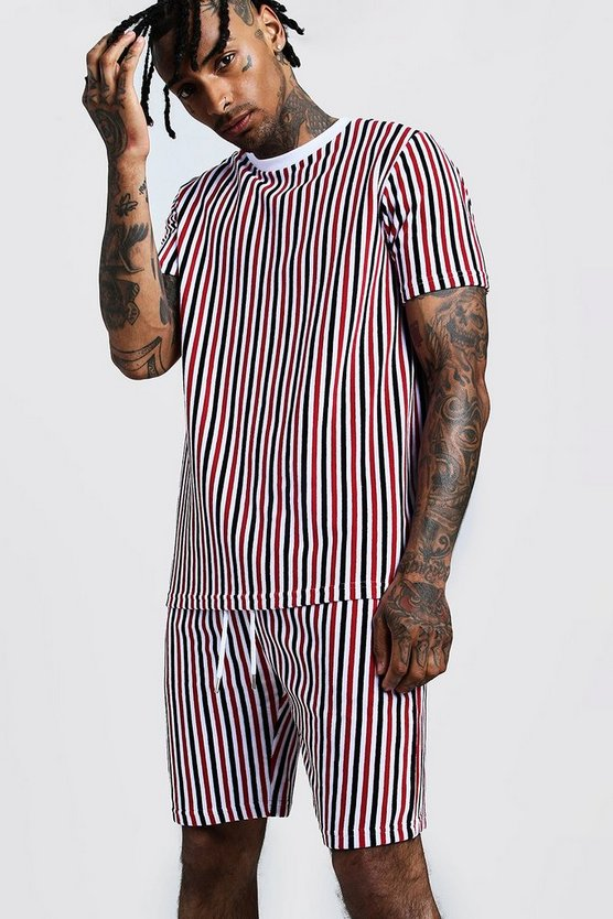 Mens Red Velour Stripe Short Set