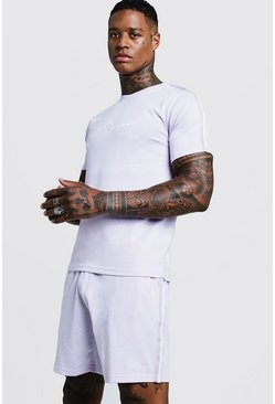 Mens Lilac MAN Signature Short Set With Tape Detail