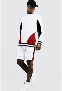Mens White Velour Colour Block Sweater Tracksuit With Rib