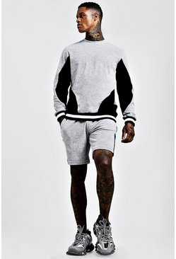 Mens Dark grey Velour Colour Block Sweater Tracksuit With Rib