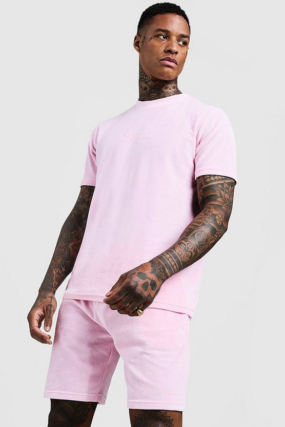 Mens Light pink MAN Signature Velour Short Set