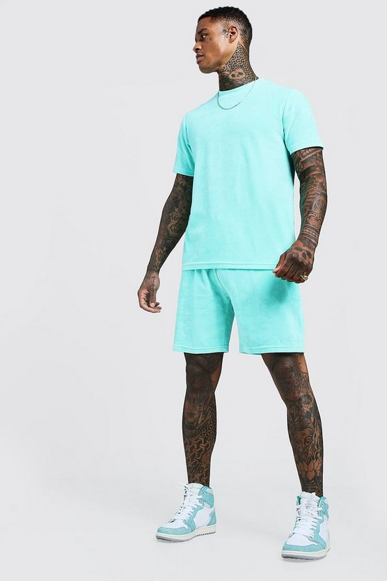 Mens Aqua MAN Signature Velour Short Set