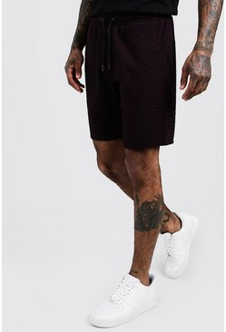 Mens Black Jacquard Short Length Jersey Short