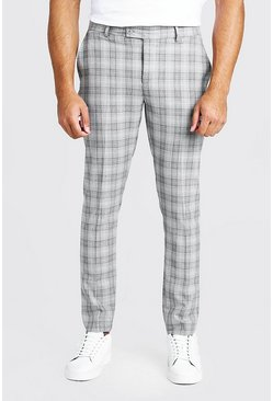 Mens Grey Check Skinny Fit Suit Trouser