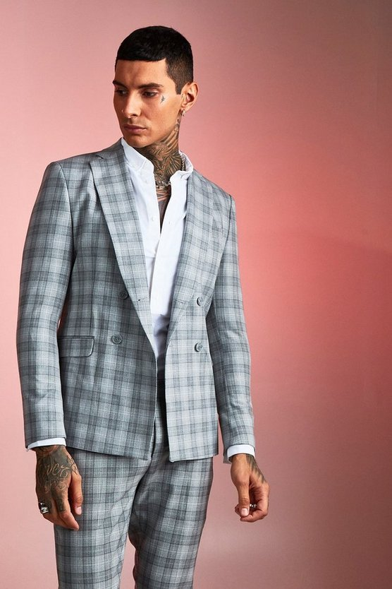 Mens Grey Check Boxy Double Breasted Suit Jacket